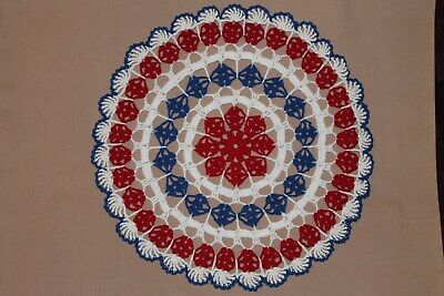 New Hand Crocheted Doily- red white blue -