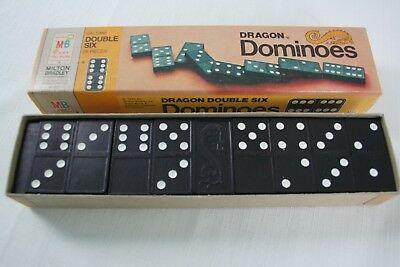 VTG Double Six Wooden Dragon Dominoes + Rules of Play #4130 Milton Bradley USA Double Six Dominoes Rules