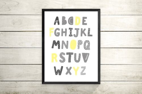 Grey and Yellow alphabet Nursery Prints -kids room-play room decor