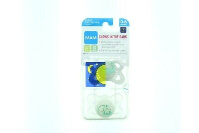 Mam Baby Infant Pacifier Glows in the Dark BPA BPS Free Skin Soft 2 Pack 0-6M