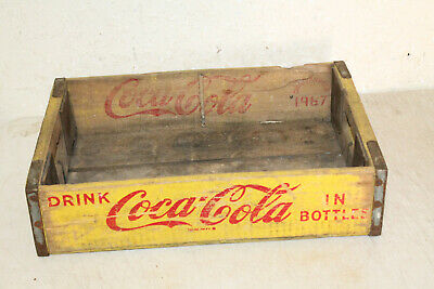 Vintage YELLOW WOODEN COCA COLA IN BOTTLES Crate Case Box Caddy ADVERTISING 1967