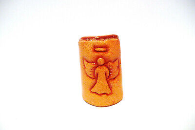 THIMBLE HANDMADE LEATHER WITH EMBOSSED ANGEL & DESIGNS ON THE BACK