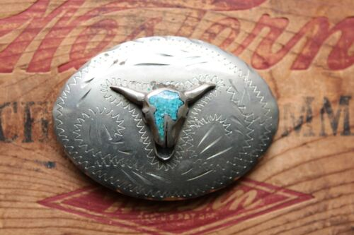 Vintage Hand Made Turquoise Chip Inlay Bull Skull Western Belt Buckle