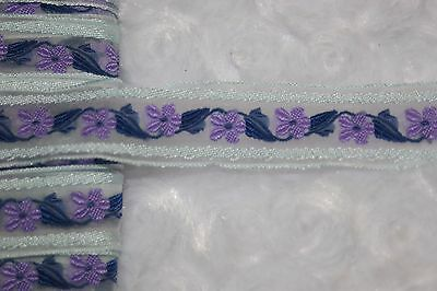 "$1 yd Gray Lavender purple Navy Blue embroidered sheer organza ribbon trim 3/4"""