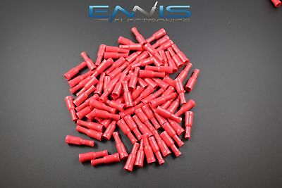 18-22 Gauge Vinyl Bullet Female Connector 25 Pk Red Crimp Terminal Awg Ga