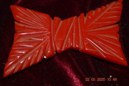 Vintage Cherry Red Bakelite Bow Brooch