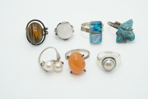 LOT of 7 Sterling Silver Cabochon Gemstone Art Glass Rings, Agate & More 38.6g