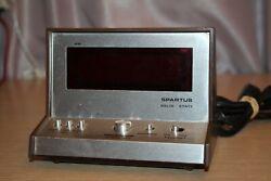 Vintage SPARTUS LED Solid State Alarm Clock 70s 1970s Digital TESTED WORKS
