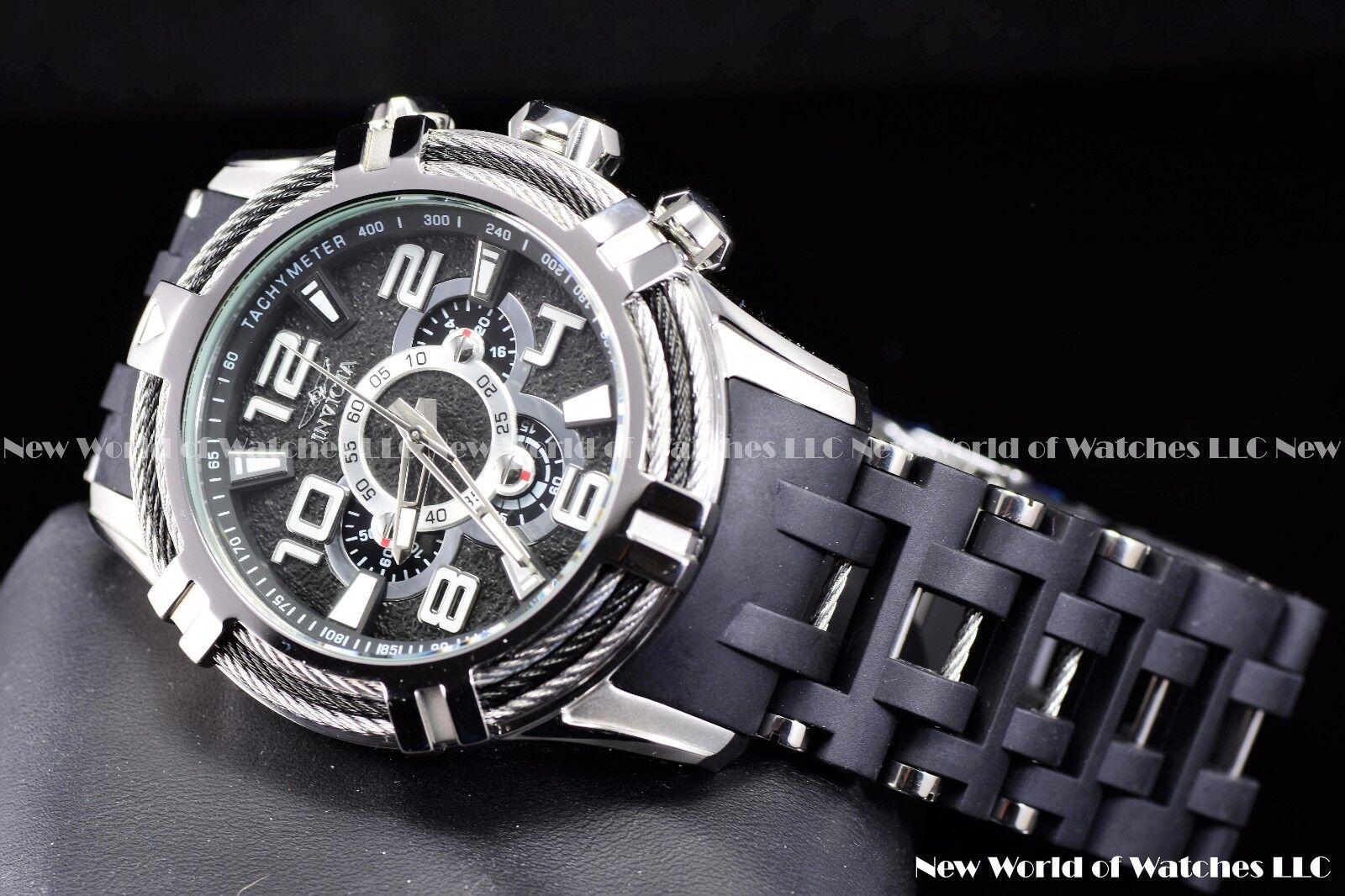 Invicta Men 51mm Bolt Sea Spider Hybrid Tri Cable Alloy Chron Silver Black Watch