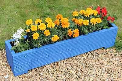 Blue 100x22x23 (cm) Wooden Garden Trough Planter or Plant Pots