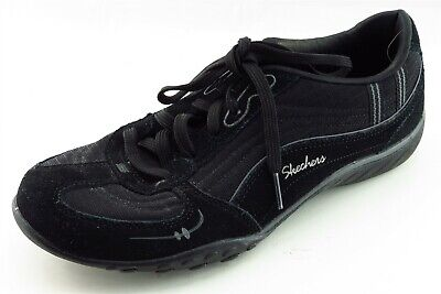 Skechers Size 8 M Black Lace Up Walking Leather Wmn Shoe
