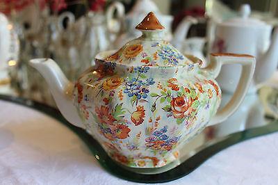 Royal Staffordshire Honey Glaze Autumn Chintz Teapot Creamer and sugar bowl