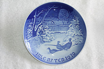 B&G Bing & Grondahl Denmark Blue White Christmas Plate 1970 Pheasants in Snow (A