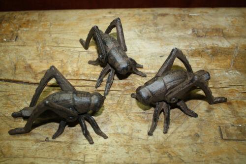 3 Cast Iron Garden Bugs GRASSHOPPER Flower Insects Plants Statue CRICKET BUG