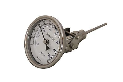 "CONCORD 3"" 304 Stainless Steel Swivel Thermometer Glass Dial BrewKettle Mash Tun"