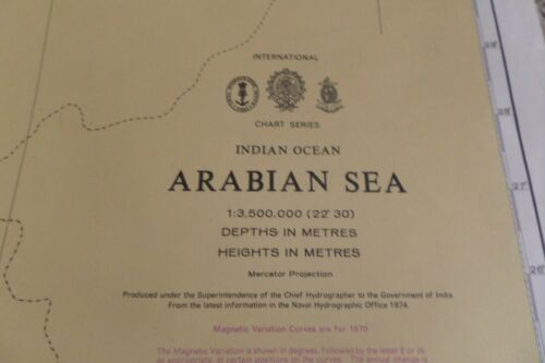VINTAGE ADMIRALTY CHART ARABIAN SEA