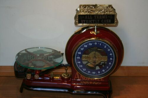RARE ANTIQUE RED ANGLDILE HEADLIGHT CANDY COMPUTING SCALE FULLY RESTORED WORKS