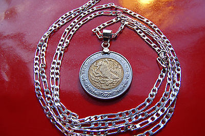 "MEXICAN Two Tone Eagle & Snake Coin Pendant on a 30"" .925 Sterling Silver Chain"