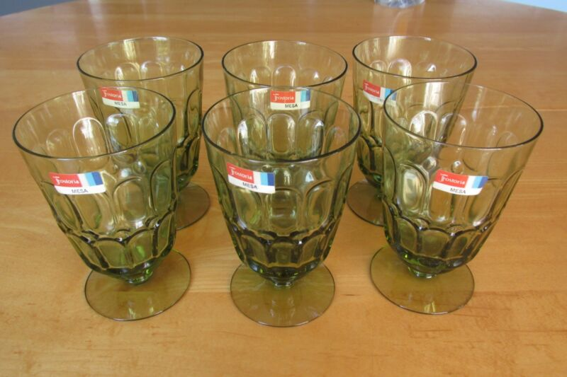 Set of 6 Mesa Olive Green Glass Fostoria Water Goblets with Original Labels