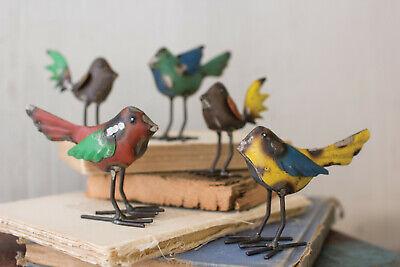 Recycled Metal Bird Buddy Set Chirping Figurines Garden Patio Birds ~ Set Of 5
