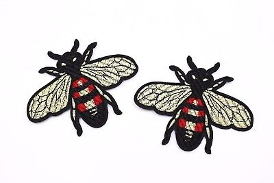 Bee Craft - Gucci Style Bee Patches (2 pcs) Bees Craft Embroidered Iron On Patch Appliques