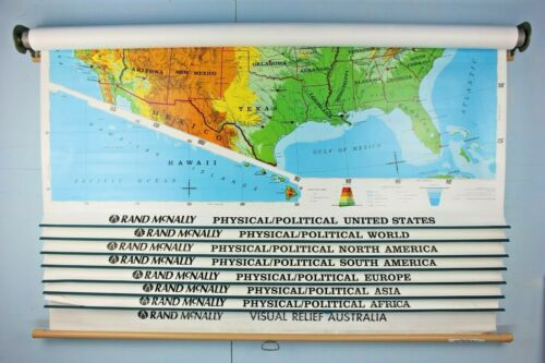 Vintage Rand McNally Wall Mount Roll up World Map 8 Physical/Pol Maps