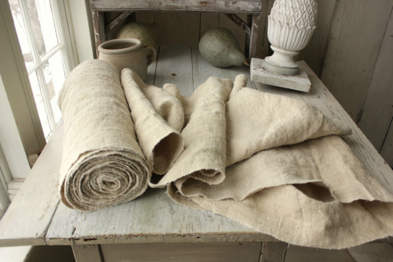 Bolt Grain Sack Fabric Vintage natural organic homespun WASHED linen 11.2 YARDS