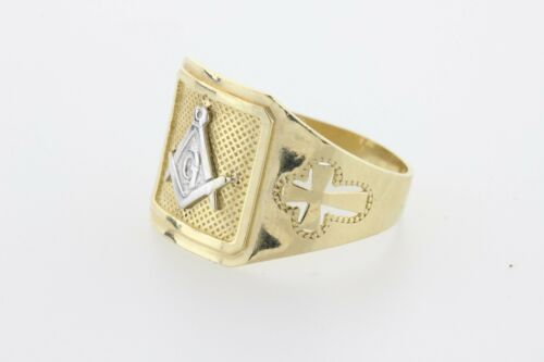 ASK 10K Yellow & White Gold Masonic G Compass Etched Cross Design Ring Size 11