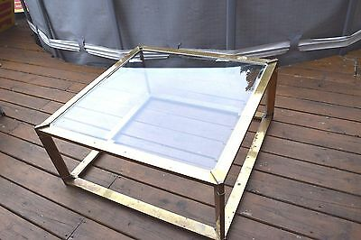 Mastercraft Gold Brass Glass Coffee Table Mid Century Modern For Restoration.