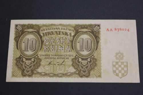 CROATIA 1941 10 KUNA KROATIEN SERIAL AA BANKNOTE PICK#5b VF