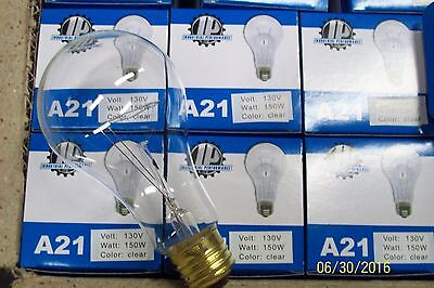 *LOT OF 2* 150W 150 WATT 130V CLEAR LIGHT BULB INDUSTRIAL PERFORMANCE A21