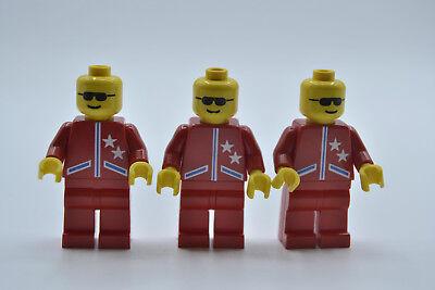 LEGO 3 x Figur Minifigur game005 zwei Sterne Jacke rot aus Set GA04