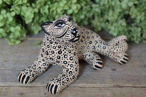 Sm Clay Jaguar Figure Relaxing Handmade Maya Amatenango Chiapas Mexico Folk Art