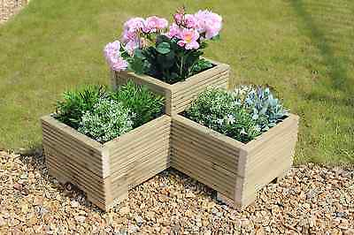 Treated 3 Tier Corner Planter Painted Wooden Garden Troughs or Plant Pots