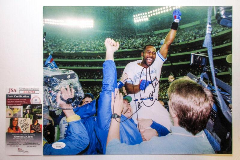 Joe Carter Signed 1993 Blue Jays World Series 11x14 Photo EXACT Proof JSA E