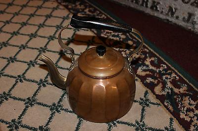 Vintage German Copper Teapot Teakettle-Ribbed Body-Gooseneck Spout-Country Decor