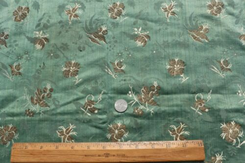 "Beautiful 18thC French Metallic & Silk Striated Green Mat~L-23""X W-21"""