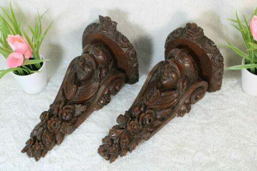 PAIR antique wood carved portrait head Wall console