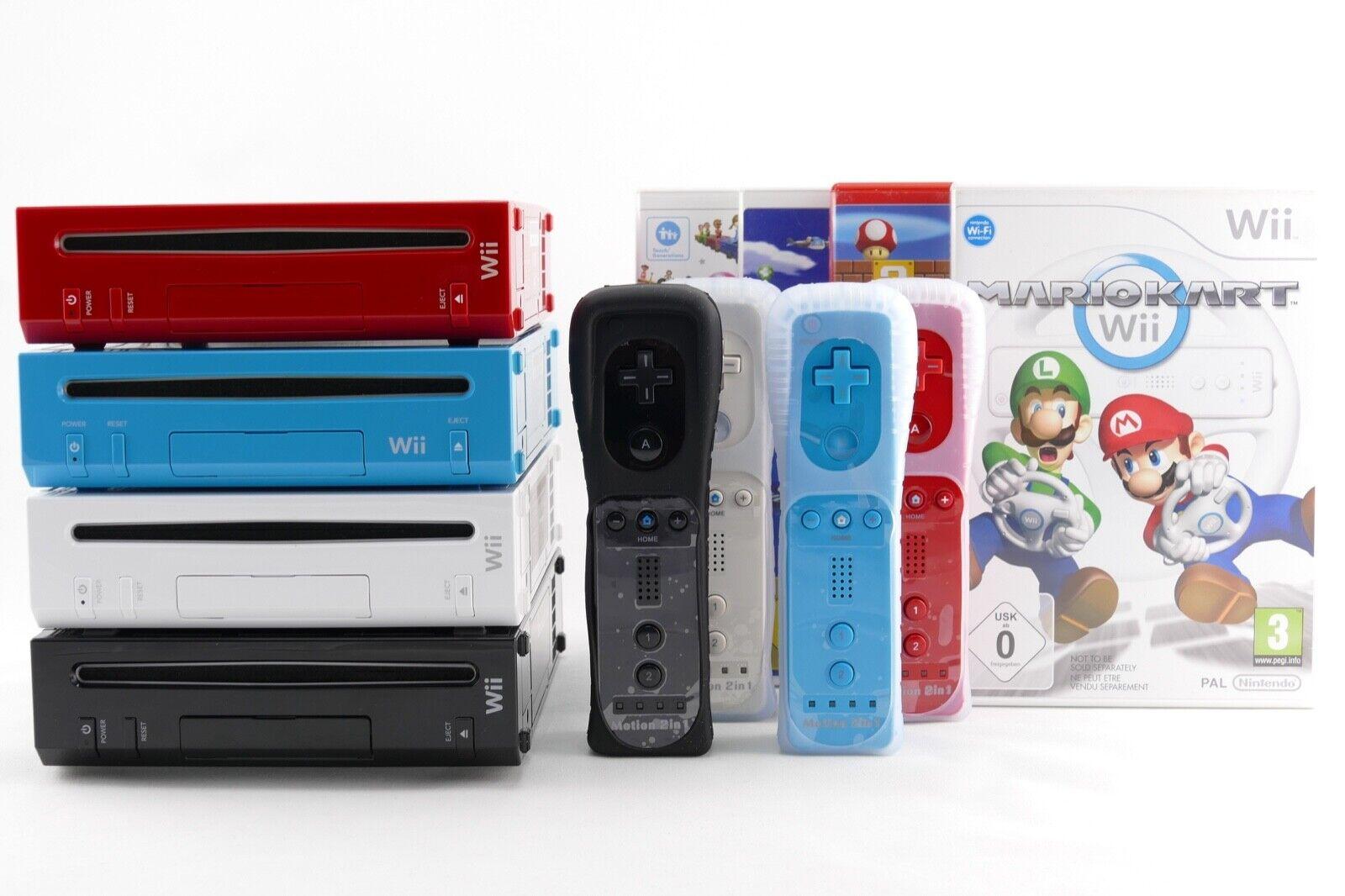Nintendo Wii Konsole & 2 in 1 Remote Motion Plus Controller Neu Nunchuk, Spiel