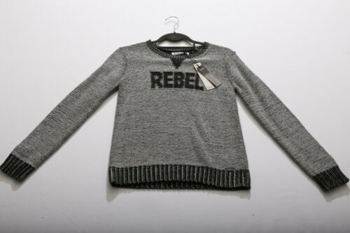 NWT $100 12A Boys IKKS Peace & Alive France Wool Blend Knit Sweater Gray REBEL