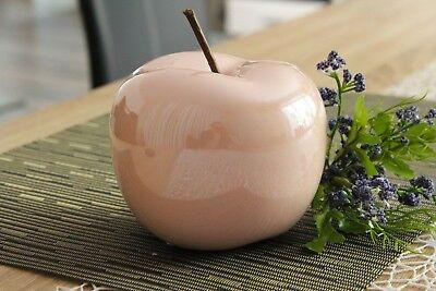 Deko Apfel 13cm Keramik rosé creme glasiert glänzend Objekt Dekoapfel Figur Obst ()