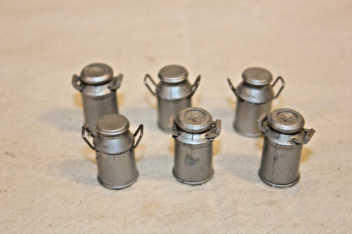 6 G SCALE DOCK SIDE MILK CANS 7/8 INCHES TALL