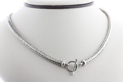 Bali Style Sterling Silver 925 Wheat Snake Chain 5MM Toggle Lock Necklace - 20