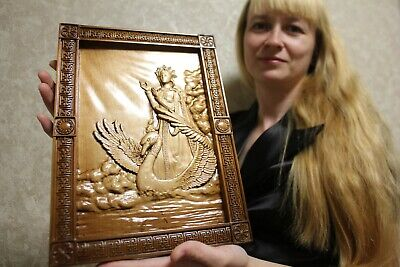 """Epic Slavic Wooden Carved wall picture """"Goddess Lada (Лада)"""" 14"""" size."""