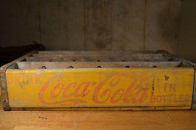 Vtg Coke Circa 1965 Coca Cola 24 Bottle Wooden Crate Box Yellow Rustic Adv