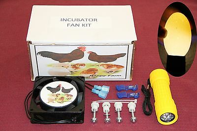 CIRCULATED AIR FAN KIT FOR LITTLE GIANT/HOVABATOR INCUBATOR + FREE EGG CANDLER