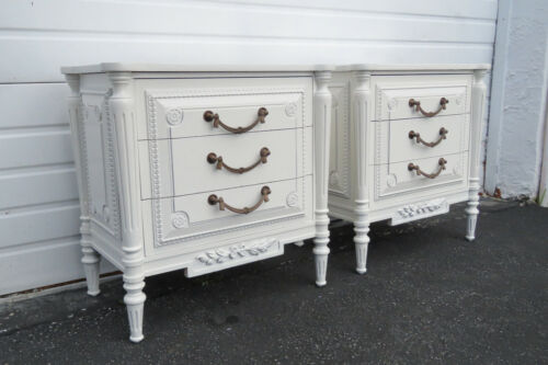 French Painted Large Carved Pair Nightstands Side End Tables 1461