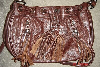 "B. MAKOWSKY ""BROWN"" SMALL LEATHER HANDBAG-VERY CUTE!!! for sale  Shipping to Canada"