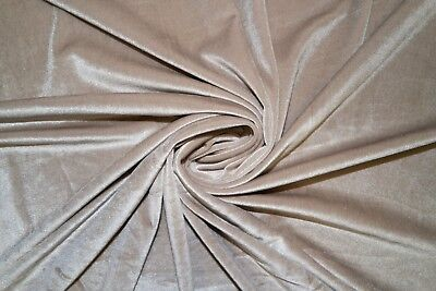 """Taupe #28 Velvet Lycra Stretch 90% Poly 10% Spandex Fabric 55""""-56"""" Wide BTY"""