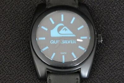 QUIKSILVER QS1022 THE BIG WAVE MENS WATCH BLUE & BLACK FACE BLACK LEATHER STRAP